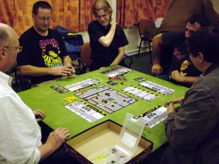 Most of the gang play Robo Rally