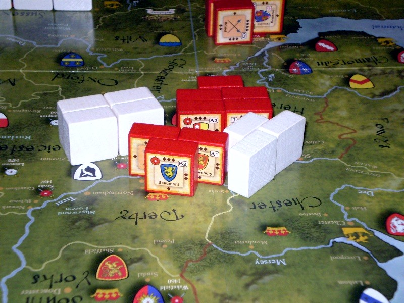 'The Battle of Coventry' - a major clash of field armies during turn 6 of the game. the Lancastrians (Red) were bested on the field, but withdrew in good order.