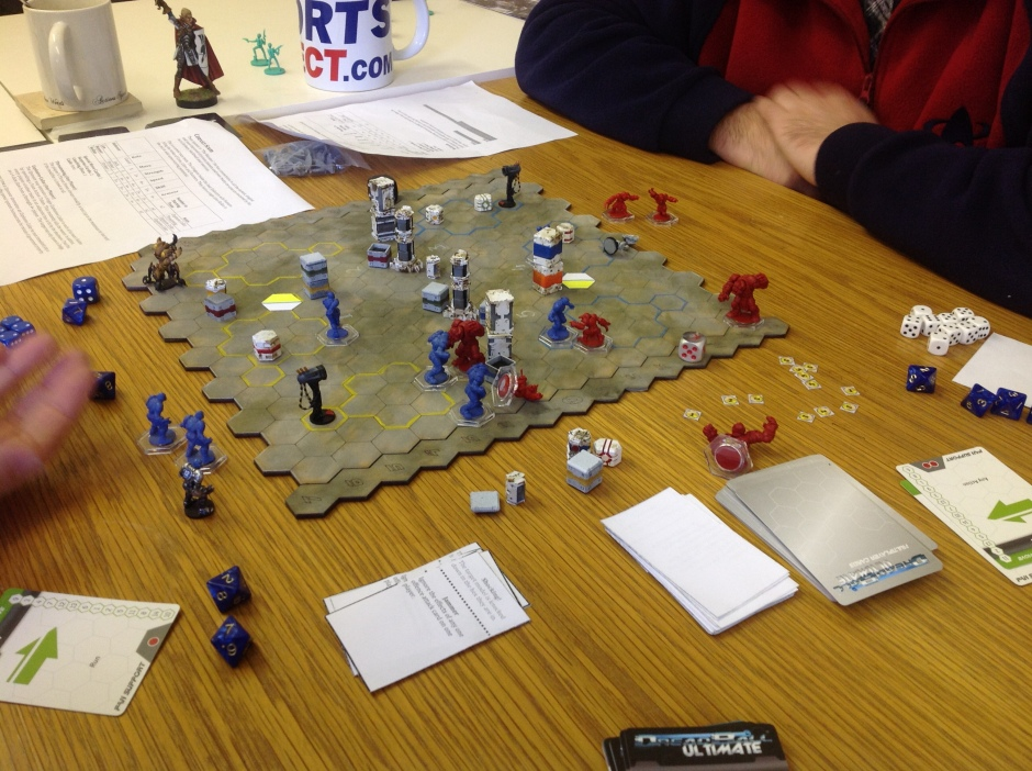 Playtest game of Dreadball Xtreme in progress, picture courtesy of Quirkworthy.com