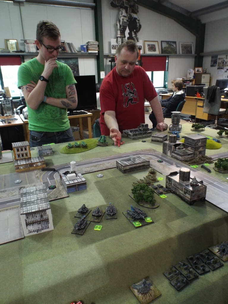 Mike and Dan Hill (from Slayer Gaming in Mansfield) about to trash my Dindrenzi super-heavy tank
