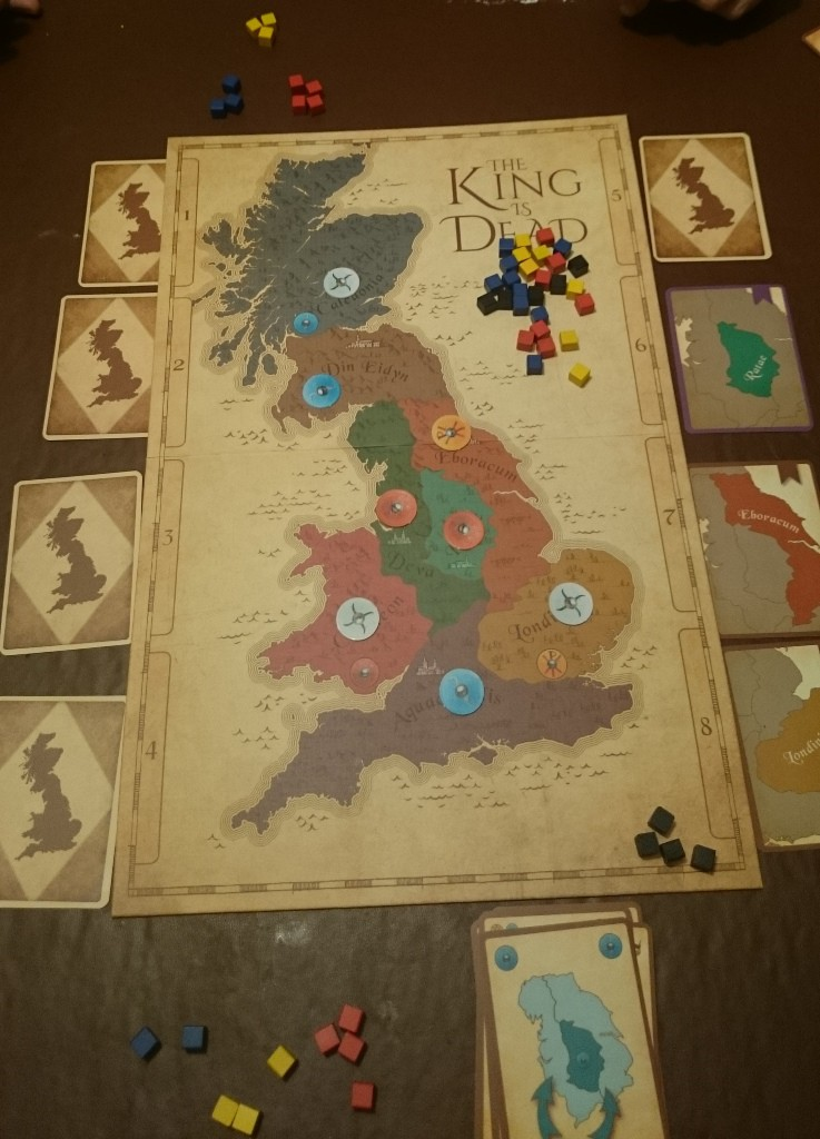 The end of the game - The Scots & Welsh tie for influence (Saxons are ignored as they don't control 4 areas)