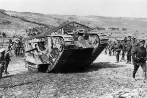 """IWM-Q 5574THE BATTLE OF THE SOMME 1 JULY - 18 NOVEMBER 1916MINISTRY OF INFORMATION FIRST WORLD WAR OFFICIAL COLLECTIONPRODUCTION DATE:15 September 1916MAKER: Brooke, J W (Lt)DESCRIPTION:The Battle of Flers Courcelette 15 - 22 September: A 'C' Company Mark I (C19 Clan Leslie) in Chimpanzee Valley preparing for action. Haig had 49 tanks available but due to mechanical problems only 18 went forward in small groups with the advance.Other Description:A 'C' Company Mark I tank (C. 19 """"Clan Leslie"""") Chimpanzee Valley, 15 September 1916. Tanks first went into action on this day."""