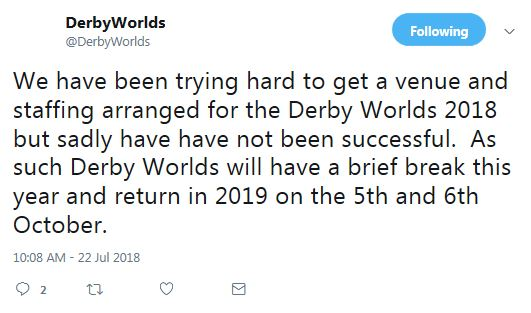 Derby Worlds Tweet